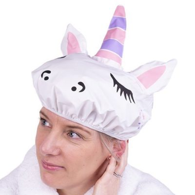 Unicorn Shower Cap on lady