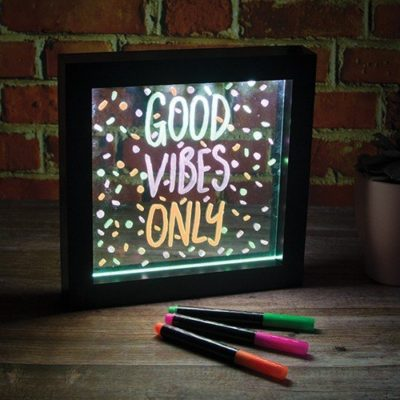 Fizz Creations Small LED Writing Message Frame Out Of Packaging Pens Neon Good Vibes