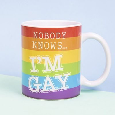 Fizz Creations Nobody Knows I'm Gay heat changing mug coloured
