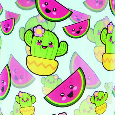Kawaii Watermelon and cactus bottle pattern