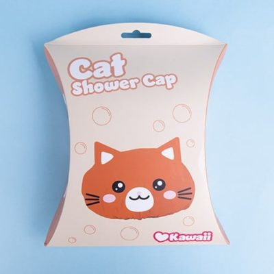 Kawaii Cat shower cap in packaging