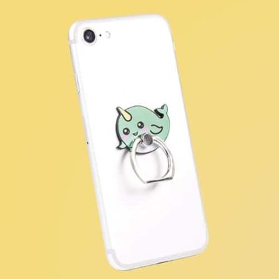 Fizz Creations Kawaii Narwhal Phone Ring on phone