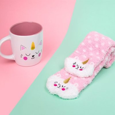 Fizz Creations Kittycorn Mug and sock gift set