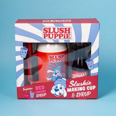 Slush Puppie Making Cup with Red Cherry Flavour Syrup