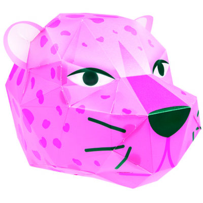 Fizz Creations Hyper Jungle Make Your Own Pink Leopard Paper Head Light Constructed