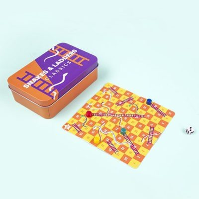 Fizz Creations Magnetic Snakes & Ladders Travel Game in Tin