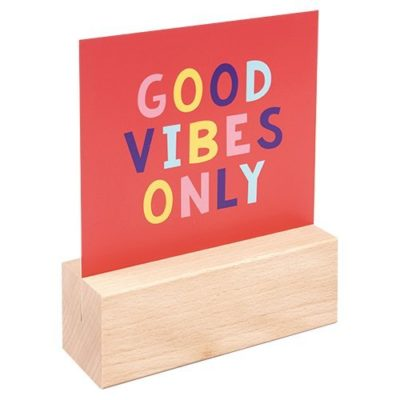 Fizz Creations Positive Vibes Slogan Message Block