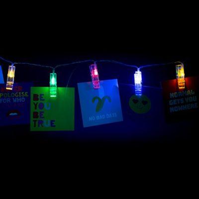 Lit up positive vibes string lights